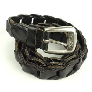 Levi's sz Large black leather belt silver buckle